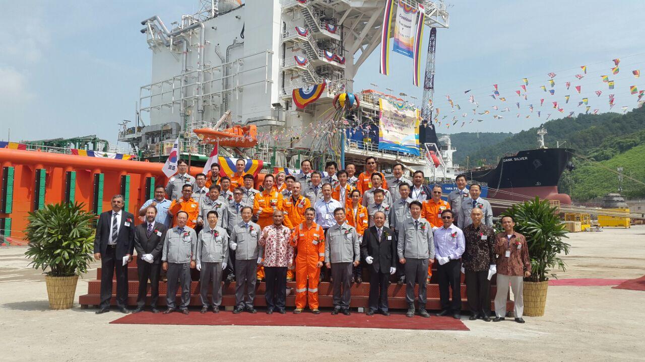 Seremonial pelepasan fasilitas Floating Production Offshore untuk Lapangan Jangkrik di Yard Ulsan, Korea Selatan yang akan dikirim ke Indonesia. (Foto-foto: Istimewa)