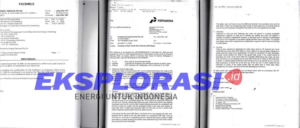 Dokumen impor minyak Sarir   Foto : Istimewa