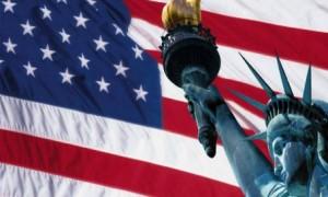 Ilustrasi bendera Amerika Serikat dan Patung Liberty   Foto : Istimewa