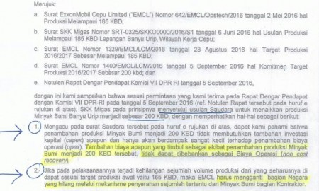 Surat SKK Migas terkait peningkatan produksi Banyu Urip | Foto : Eksplorasi.id
