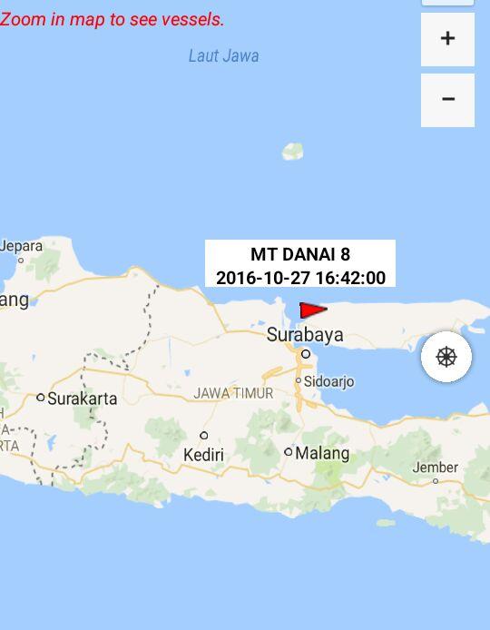 Lokasi kapal MT Danai 8 | Foto : Eksplorasi.id
