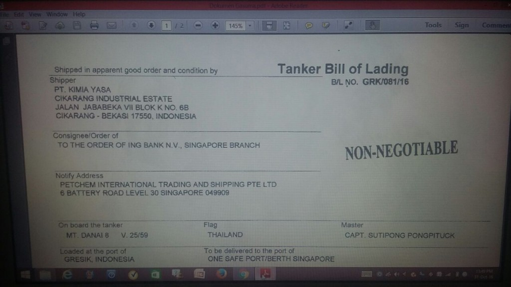 Dokumen Tanker Bill of Lading | Foto : Eksplorasi.id