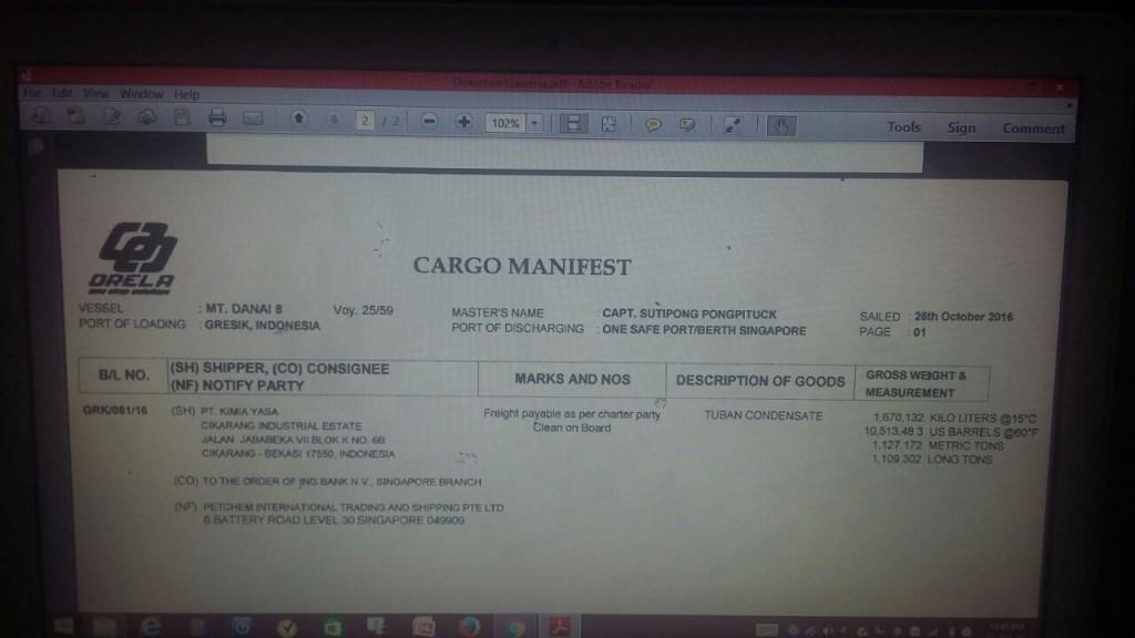 Dokumen Cargo Manifest | Foto : Eksplorasi.id